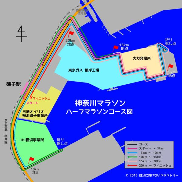 神奈川マラソン(ハーフマラソン)コース図