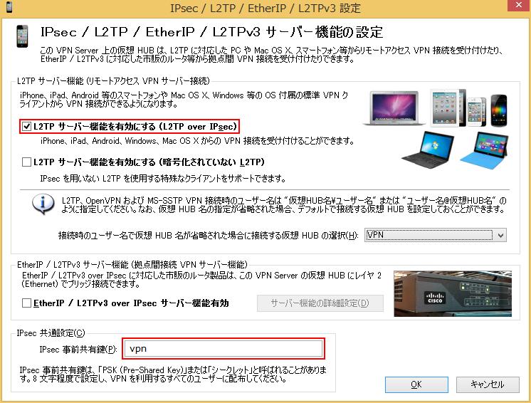IPsec/L2TP/EtherIP/L2TPv3設定