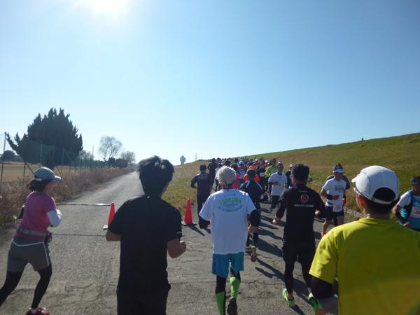 第17回 ハイテクハーフマラソン Aコース、折り返し直後の坂道