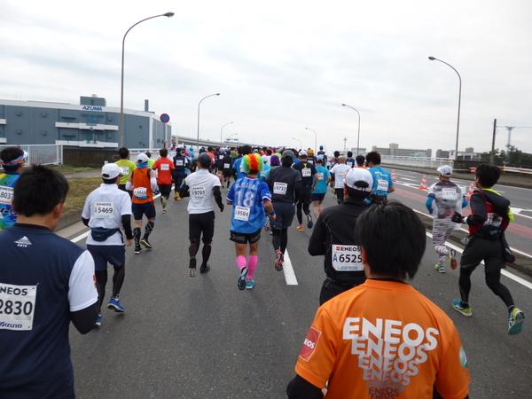 横浜マラソン2016 本牧橋(8km付近)