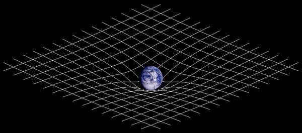 一般相対性理論によって記述される2次元空間と時間の作る曲面