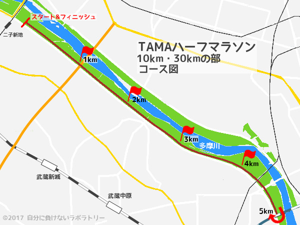 第24回・TAMAハーフマラソン 10km・30kmの部 コース図