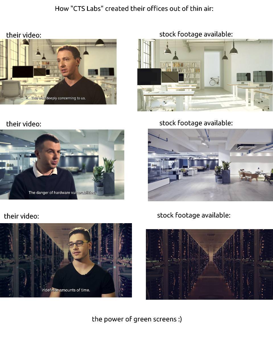 AMD Flawsのインタビュー動画内のオフィスと合成元画像の比較