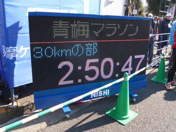 第53回青梅マラソン フィニッシュ地点タイム表示
